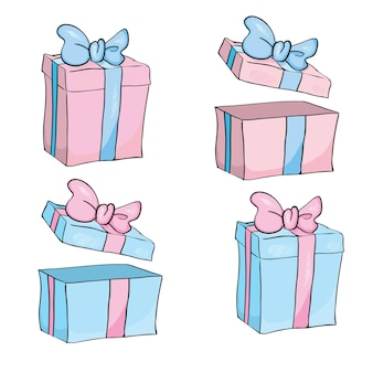 Geschenkdoos voor kerstmis, nieuwjaar, roze en blauwe geschenkdoos witte achtergrond.