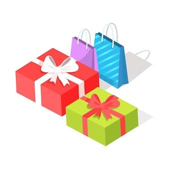 Geschenkdozen en boodschappentassen op wit