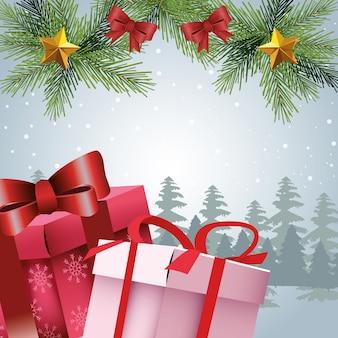 Geschenkdozen en chrismtas-ornamenten