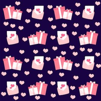 Geschenkdozen, harten en liefdesbrief patroon achtergrond in roze en paarse kleur.