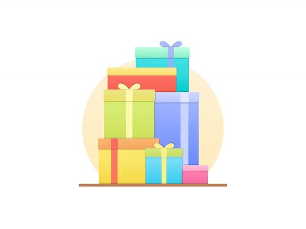 Geschenkdozen in vlakke stijl
