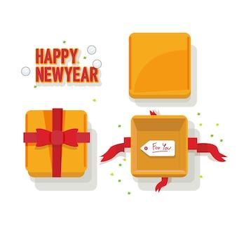 Geschenkdozen met bovenklep en lint. nieuwjaarsviering