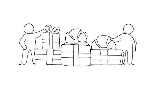 Geschenkdozen met kleine mensen. doodle schattige miniatuur - bereid je voor om vakantie te vieren. hand getekende cartoon vectorillustratie voor kerst ontwerp.
