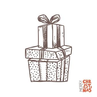 Geschenkdozen met linten in schets hand getrokken stijl, doodle illustratie