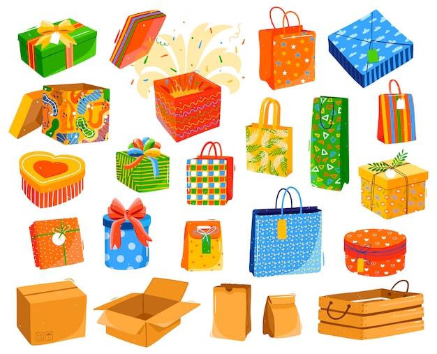 Geschenkdozen op wit, set van huidige pakketten te koop, illustratie