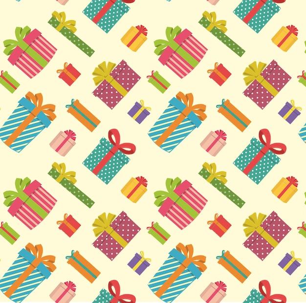 Geschenkdozen patroon op een lichtgele achtergrond
