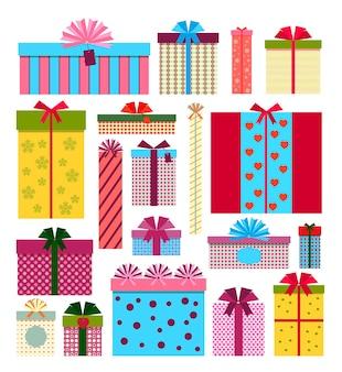 Geschenkdozen pictogrammen geïsoleerd op een witte achtergrond Gratis Vector