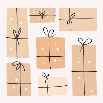 Geschenkdozen set, met linten. cadeau. decoratieve papieren stijlvolle verpakking voor cadeauverpakking.