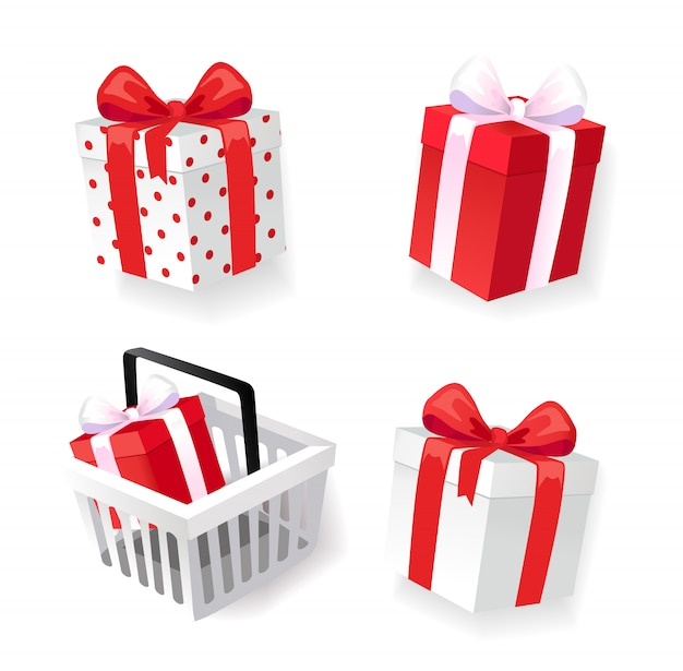 Geschenkdozen versierd met linten geïsoleerde pictogrammen