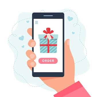 Geschenken voor online winkelen. scherm met aanwezig.