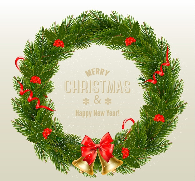 Geschenkenkaart met kerstkrans en boog