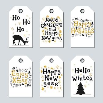 Geschenklabels voor kerstmis en nieuwjaar