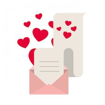 Geschenklijst met envelop geïsoleerde pictogram