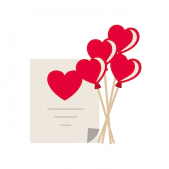 Geschenklijst met hart ballonnen geïsoleerde pictogram