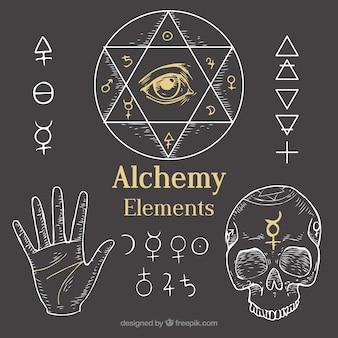 Geschetst alchemie elementen