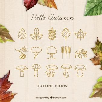 Geschetst herfst pictogrammen