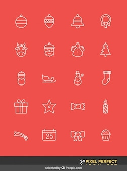 Geschetst kerst pictogrammen instellen