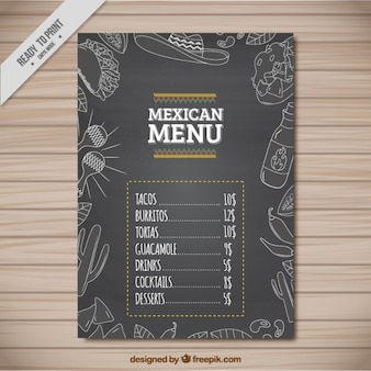 Geschetst mexicaans restaurant menu design