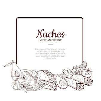 Geschetst mexicaanse voedselelementen die onder kader met plaats voor tekst worden verzameld