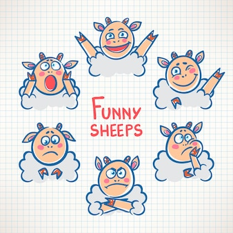 Geschetst schattige schapen met verschillende emoties gezichten