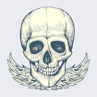 Geschetste menselijke schedel met label van de de stijlaffiche van de vleugels het uitstekende fietser