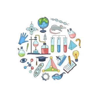 Geschetste wetenschap of chemie-elementen in de vorm van een cirkelillustratie. scheikunde schets natuurkunde en biologie