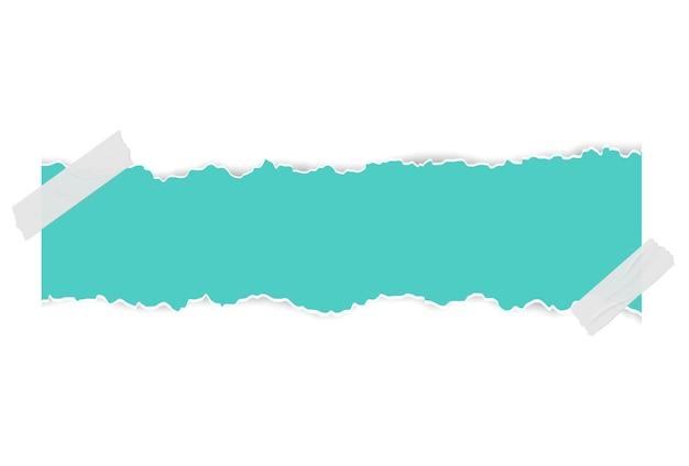 Gescheurd gescheurd stuk horizontale papierachtergrond voor tekst