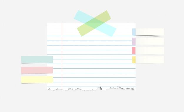 Gescheurd notitieboekpapier met plakband en plakkerige index
