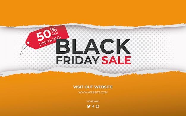 Gescheurd papier banner black friday-verkoop
