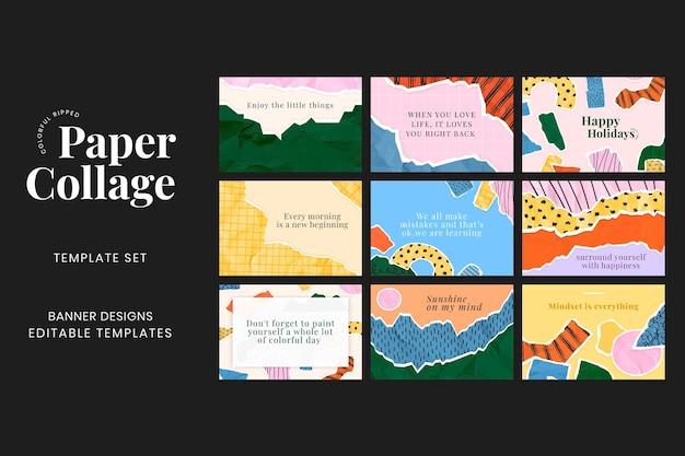 Gescheurd papier collage banner vector op gescheurd papier collage achtergrond set set