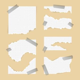 Gescheurd papier in verschillende vormen met plakband