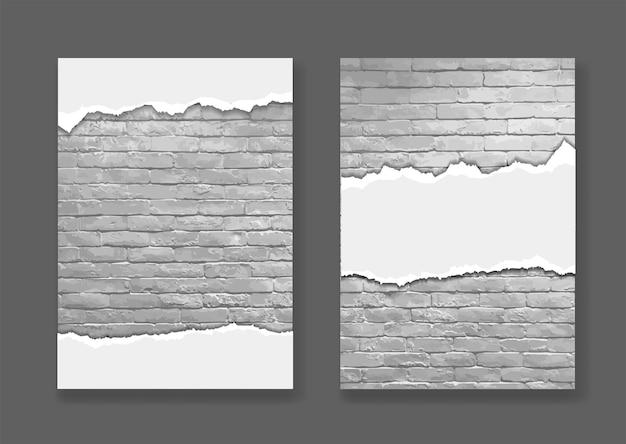Gescheurd papier op moderne bakstenen muur textuur.
