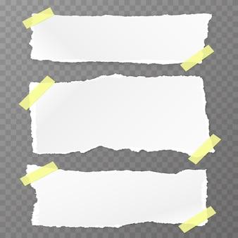 Gescheurd vierkant papier ingesteld op de transparante achtergrond. vector illustratie