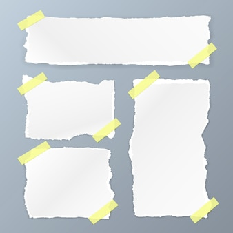 Gescheurd vierkant papier ingesteld op de witte achtergrond. vector illustratie