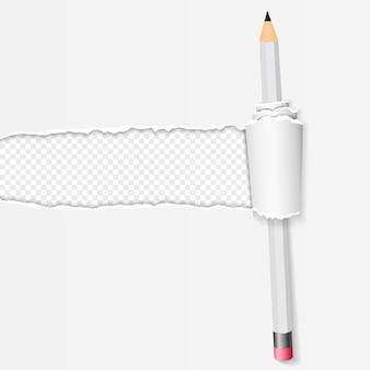 Gescheurde en gedraaide papieren strook met een potlood