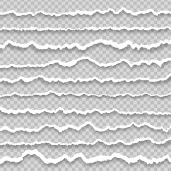 Gescheurde, gescheurde papieren stroken beschadigde kartonnen randen