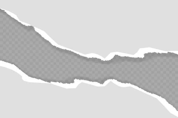 Gescheurde, gescheurde stukjes wit en grijs papier met zachte schaduw staan op een grijze vierkante achtergrond voor tekst.