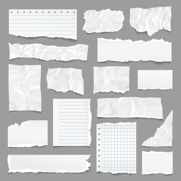 Gescheurde pagina's. gescheurd papier, notitiestroken met scheurranden. notebookpagina, lineaire getextureerde vellen. realistische gerimpelde en verfrommelde lege exacte vectorelementen