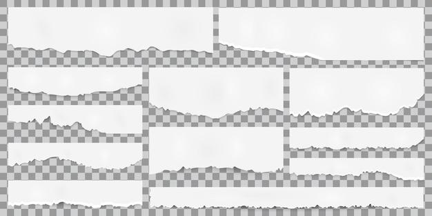 Gescheurde papieren, gescheurde stukjes papier, papiersnippers, stuk plakboekpapier. vector set geïsoleerde stukjes papier