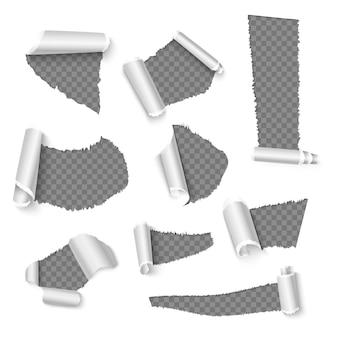 Gescheurde papieren met krullen