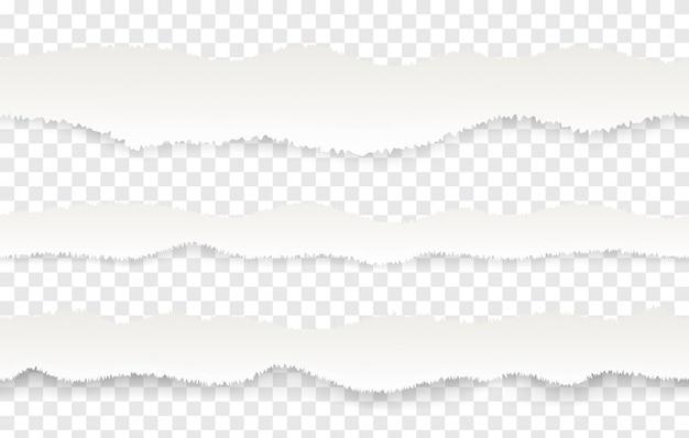 Gescheurde papierrand. realistisch naadloos patroon van gescheurde of gescheurde pagina's.