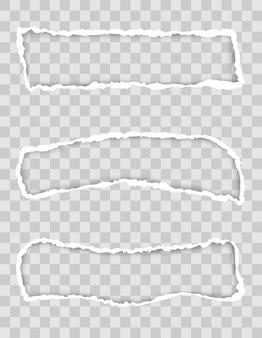 Gescheurde papierrand voor ontwerp met transparante ruimtesjabloon