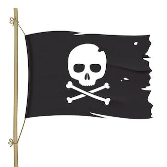 Gescheurde piratenvlag met witte schedel. zwarte vlag met gekruiste knekels zwaaien.