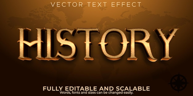 Geschiedenis teksteffect, bewerkbare oude en historische tekststijl