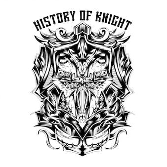 Geschiedenis van ridder zwart en wit illustratie