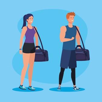 Geschiktheidsman en vrouw met zak om activiteit uit te oefenen