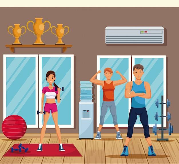 Geschiktheidsmensen die binnen gymnastiek opleiden