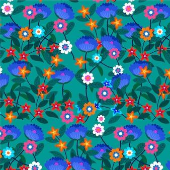 Geschilderd exotisch bloemenpatroonbehang