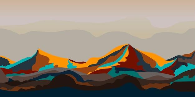 Geschilderd grafisch ontwerp van het berglandschap