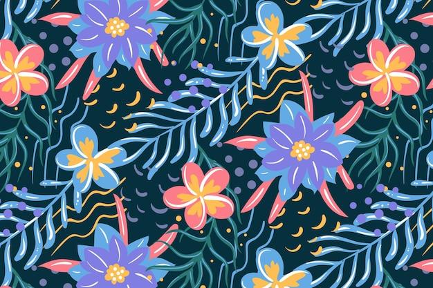 Geschilderd kleurrijk exotisch bloemenpatroon